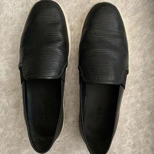 Vince black leather slip on shoes size 8